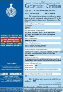 Reg. Under Labour Department Act 1958