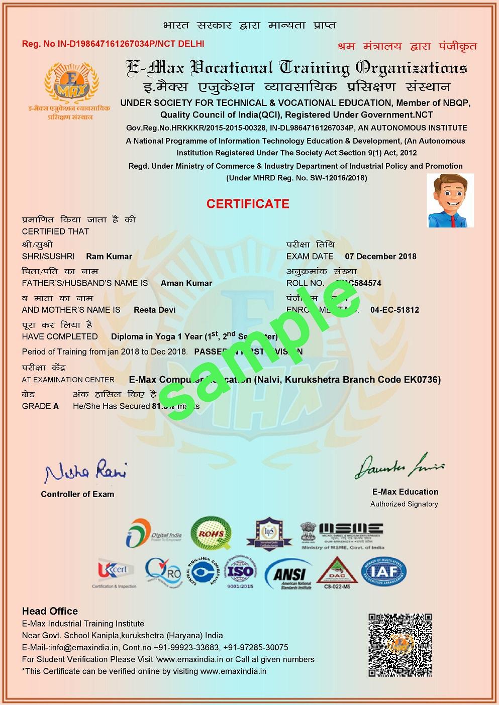 E-Max Education Certificate Sample Computer Center Institute